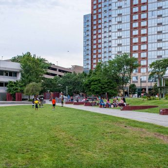 New Rochelle Public Library and Library Green