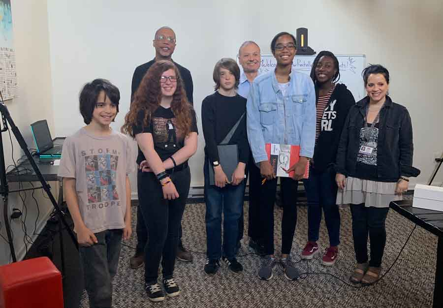 Middle Schools Students with Ralph Dibart, Ms. Tarantino and Logan