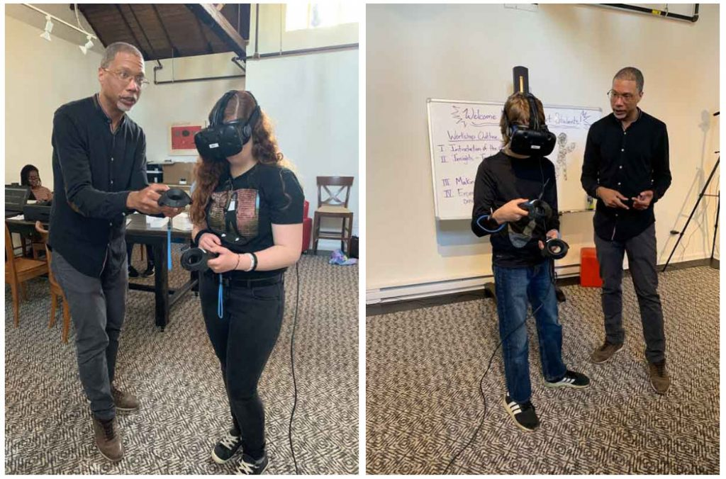 Logan demos VR to students