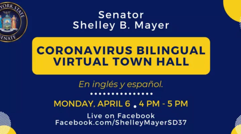 Monday April 6 4-5pm Live Bilingual Town Hall Meeting with State Senator Shelley Mayer