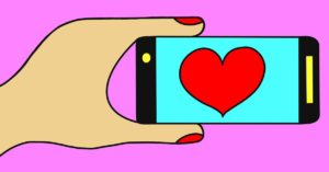 Cell Phone in Hand with Heart Image