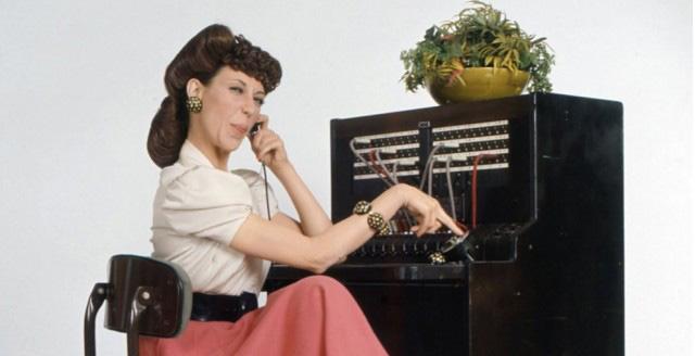 Lady on Vintage Phone