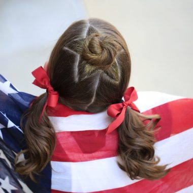 patriotic girl in flag
